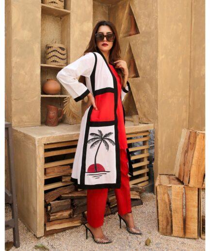 Red White Cardigan 3PC