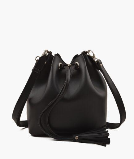 Black bucket bag