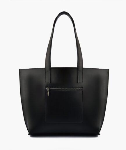 Black long handle tote bag