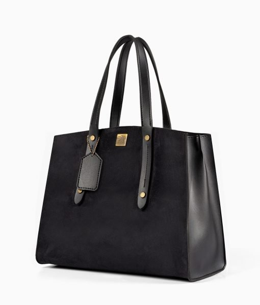 Black suede multi compartment satchel bag
