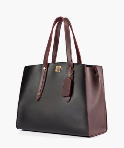 Black with burgundy multi compartment satchel bag