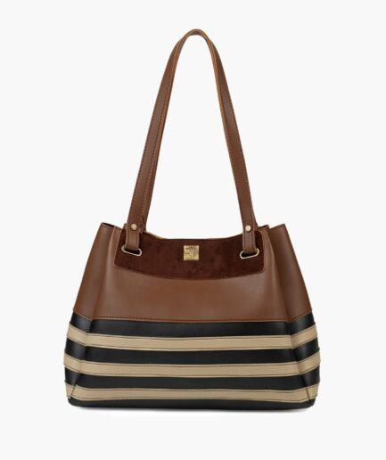 Brown and white zebra tote bag
