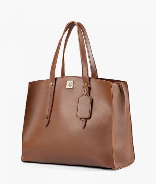 Brown multi compartment satchel bag