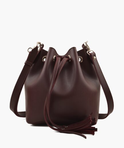 Burgundy bucket bag
