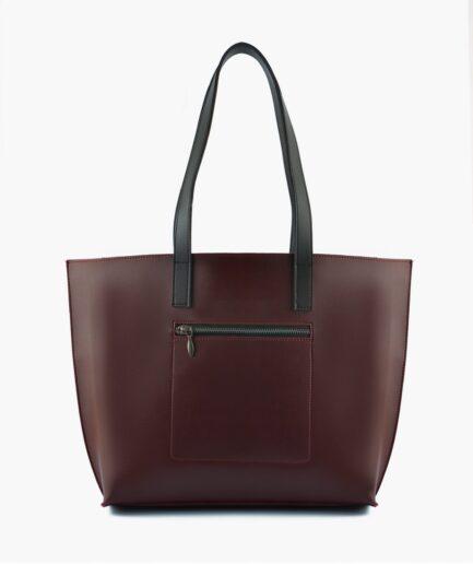 Burgundy long handle tote bag