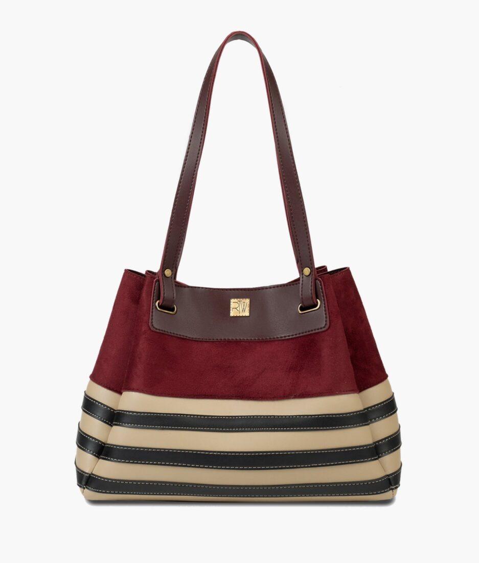 Burgundy suede and white zebra tote bag