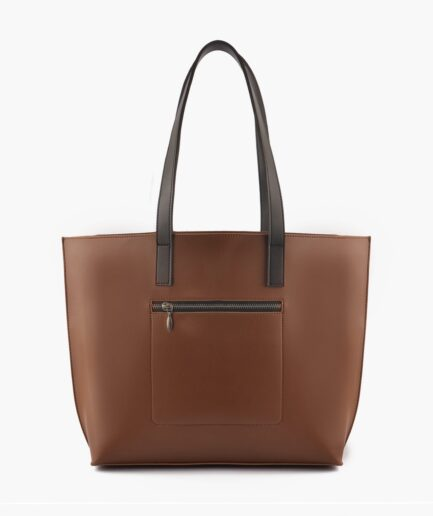 Horse brown with black long handle tote bag