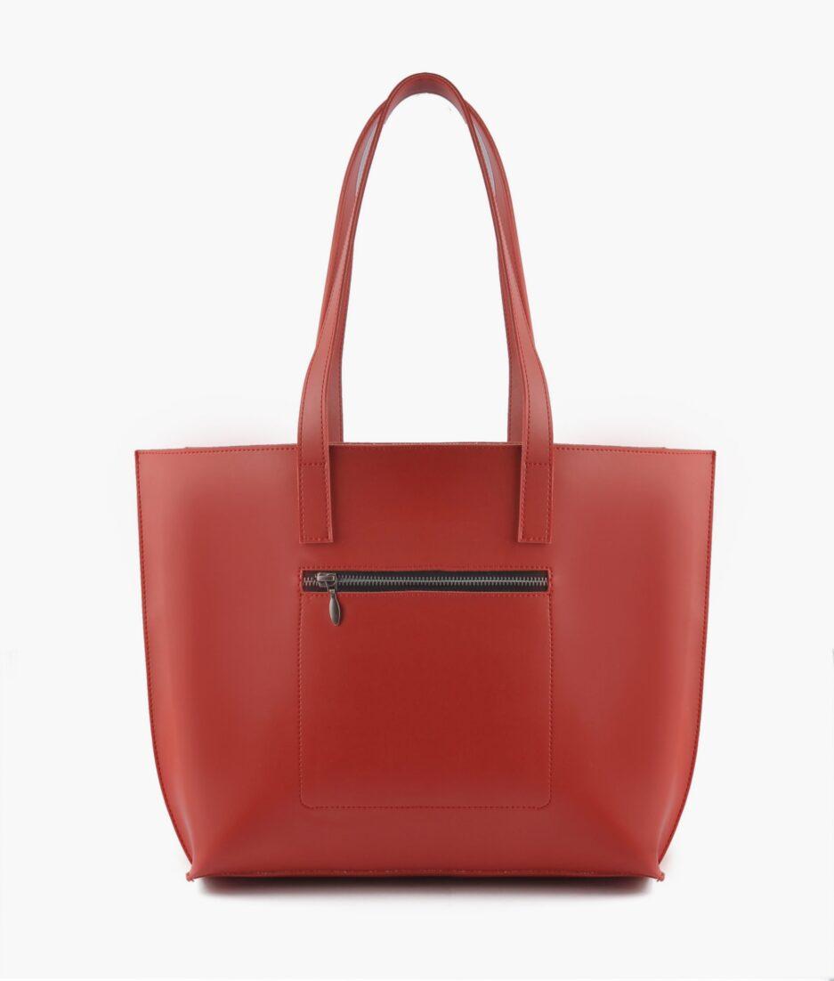 Red long handle tote bag