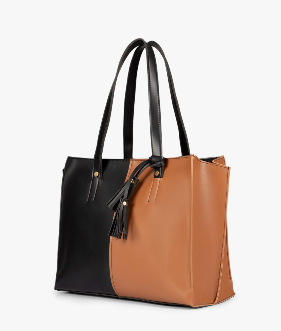 Tan and black over the shoulder tote bag