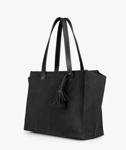 Black suede over the shoulder tote bag