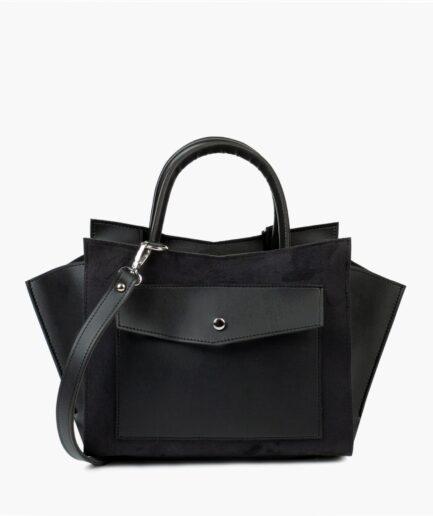 Black suede top-handle bag