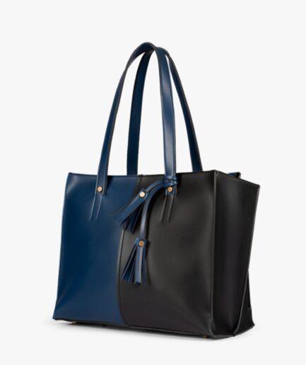 Blue and black over the shoulder tote bag