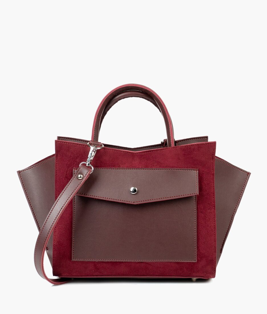 Burgundy suede top-handle bag