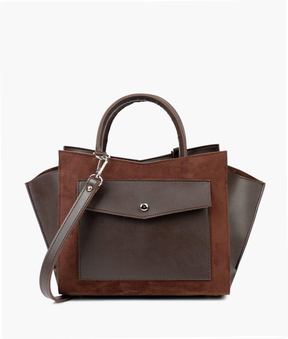 Dark brown suede top-handle bag