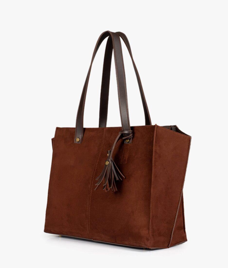 Dark brown suede over the shoulder tote bag