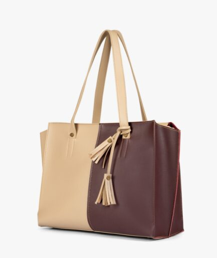Off-white and burgundy over the shoulder tote bag