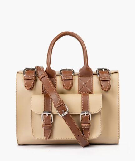 Off-white with brown wilderness satchel bag