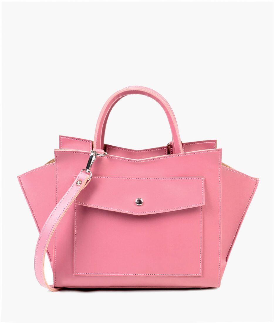 Pink top-handle bag