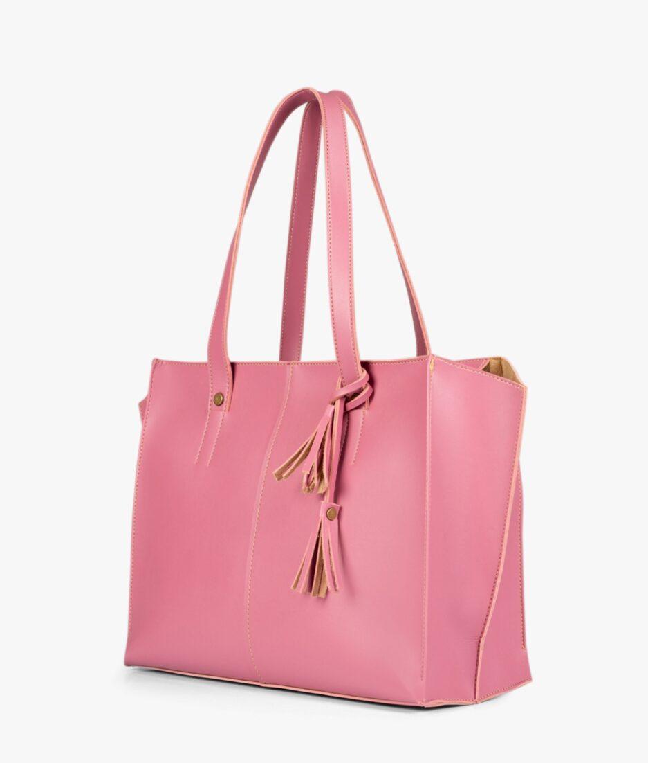 Pink over the shoulder tote bag