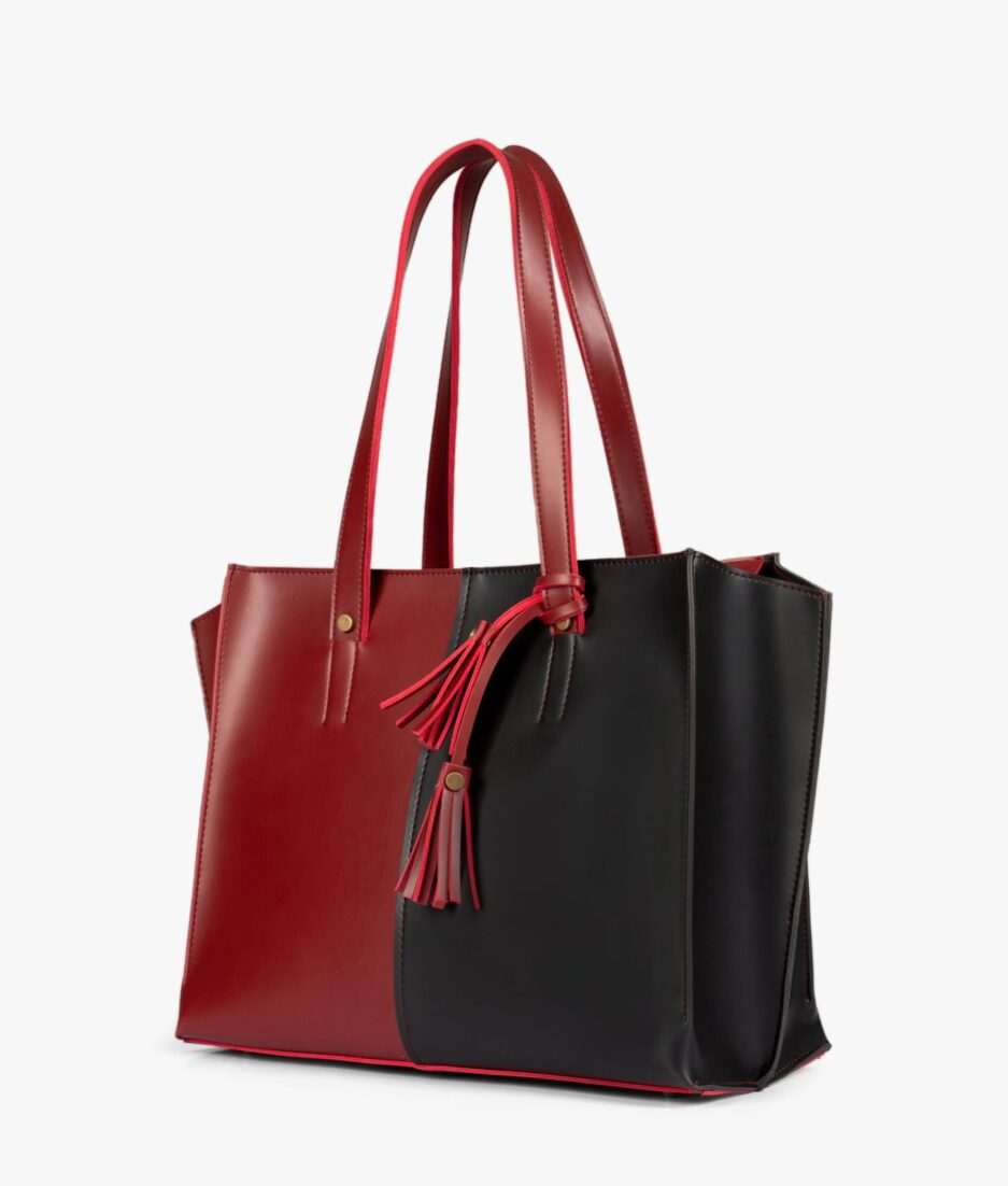 Red and black over the shoulder tote bag