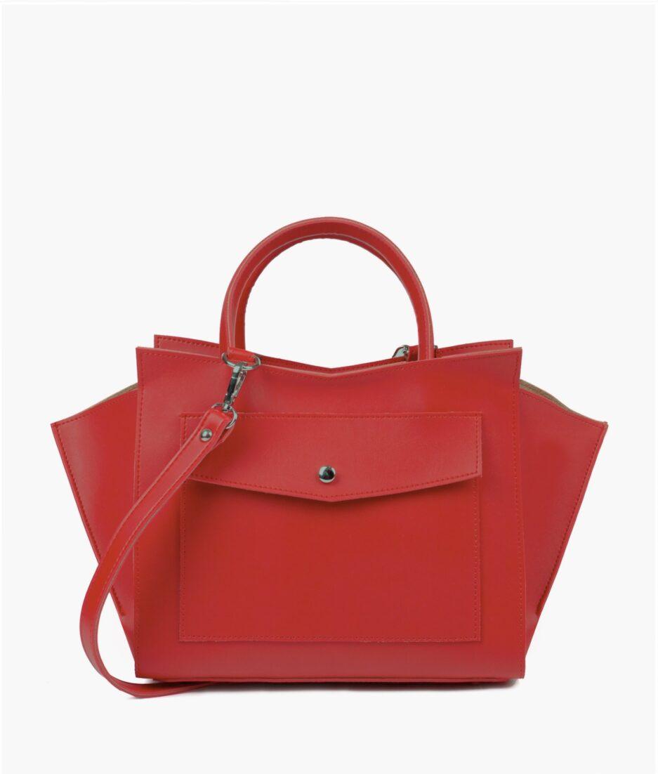 Red top-handle bag