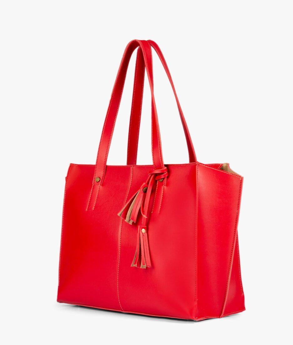 Red over the shoulder tote bag