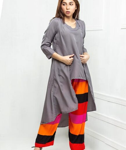 Slate grey top with streaked pant