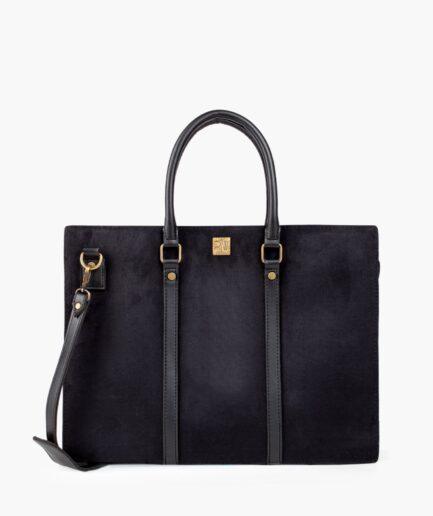 BLACK SUEDE LAPTOP BAG